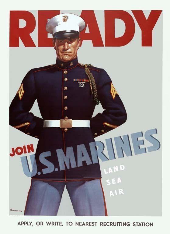WWII 1940's Marine Recruitment Poster  Refrigerator / Tool Box / Magnet