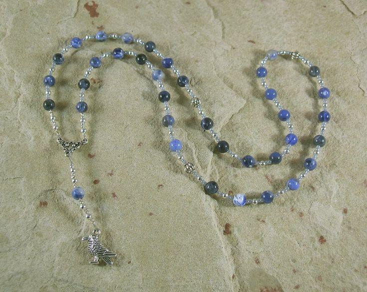 Odin Prayer Bead Necklace in Sodalite: Norse God of Battle, Magic, Runes, Wisdom