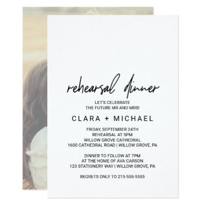 Whimsical Calligraphy Photo Back Rehearsal Dinner Card - elegant gifts gift ideas custom presents