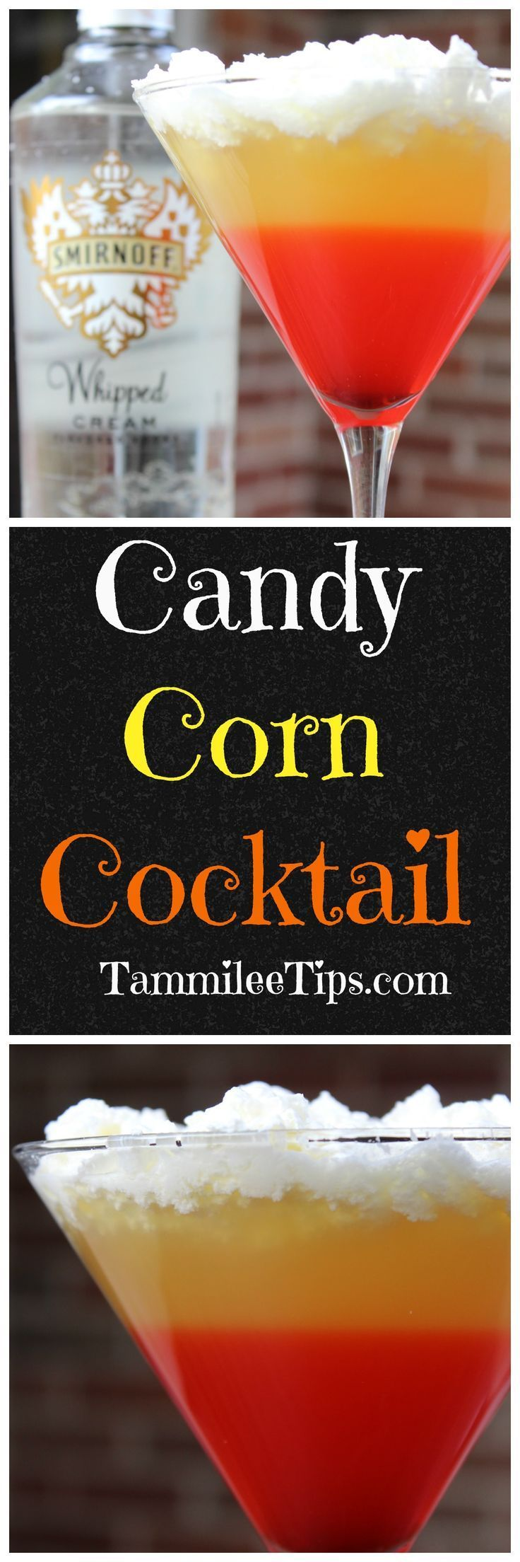 Candy Corn Cocktail Recipe perfect for Halloween parties! This easy cocktail recipe is sure to be an adult crowd favorite!