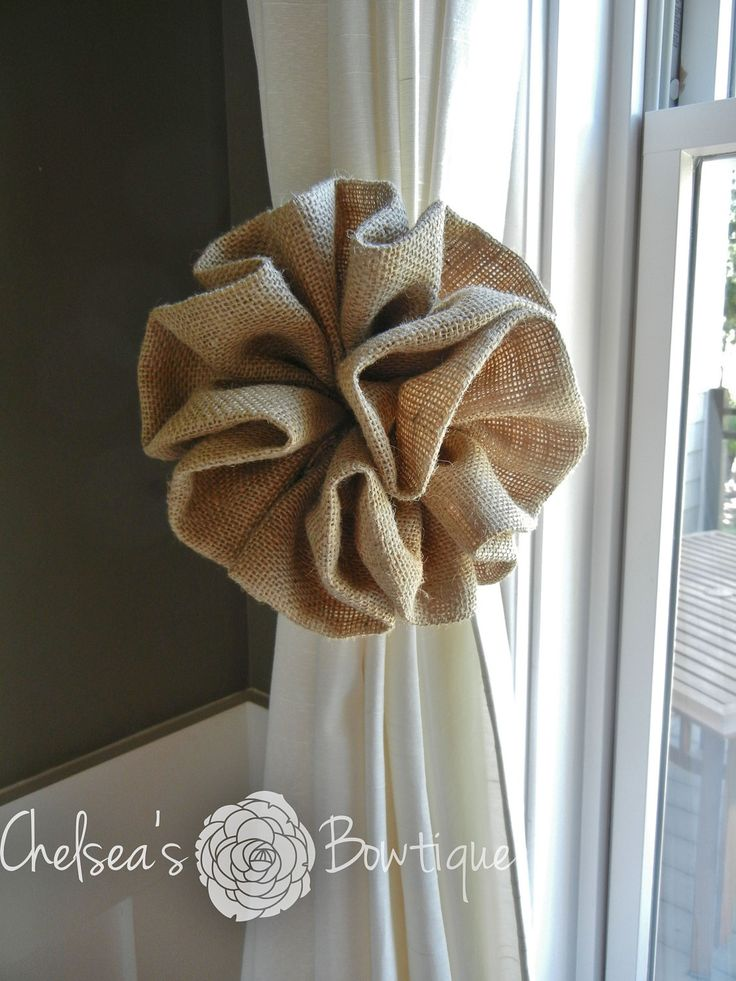 Burlap Curtain Tie Back - could use these as pew bows