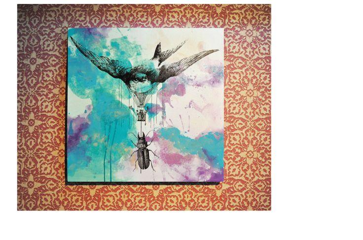 Tapiz Boho Chic Cuadro Viaje Surrealista 64x64x3.5cm Impresión digital sobre canvas intervenida con acrílicos