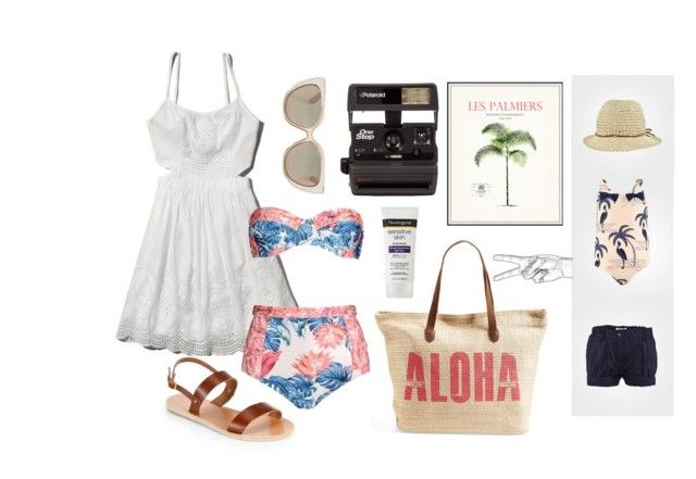 Beach with Yana ☀️ by iyafries on Polyvore featuring Abercrombie & Fitch, We Are Handsome, Mini Rodini, Ancient Greek Sandals, Rip Curl, Jimmy Choo, Polaroid and Noa Noa