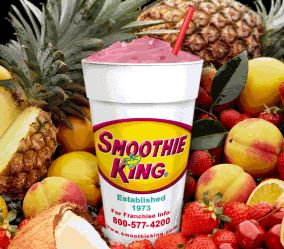 Smoothie King Angel Food Smoothie - water, banana, strawberries, nonfat dry milk powder, sugar in the raw, vanilla, ice