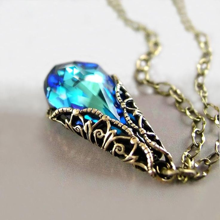 Ocean Blue Necklace Bermuda Blue Swarovski Teal Green Blue Crystal Pendant Antique Gold Victorian Necklace Peacock Blue