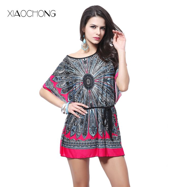>> Click to Buy << XIAOCHONG Ethnic printed women summer dress loose batwing sleeve Lace up sashes sundress boho mujer dress vestidos 2017 #Affiliate