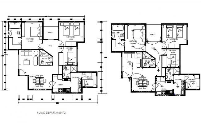 Electric Layout Plan Of A Residential Apartment In Dwg File Modern House Floor Plans Family House Plans Residential Apartments
