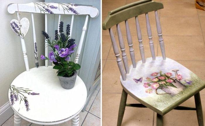 beklebter Stuhl mit Blumen-Schmuck aus Servietten, DIY Ideen