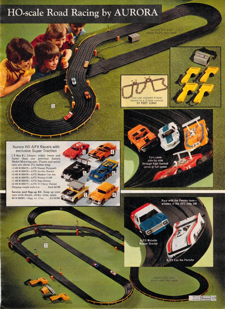 Aurora Race Set Sears 1972: Aurora Slot, 500 Slot, Aurora H O', Cars Aurora, Cars Racing, Aurora T Jets, Slot Cars, Aurora Models, Aurora Racing
