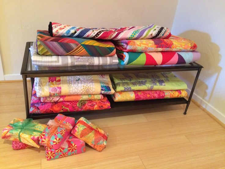 Quilts and weights in my studio