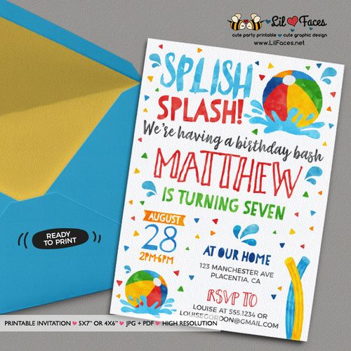 The 25 best Summer party invites ideas – Birthday Pool Party Invitation
