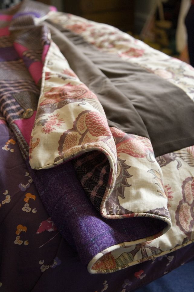 British made Harris Tweed and velvet quilts £315.00