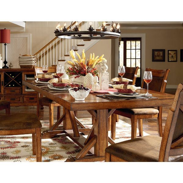 Traditional Dining With Genuine Rustic Charm, This Collection Features A  Large Trestle Style Table With