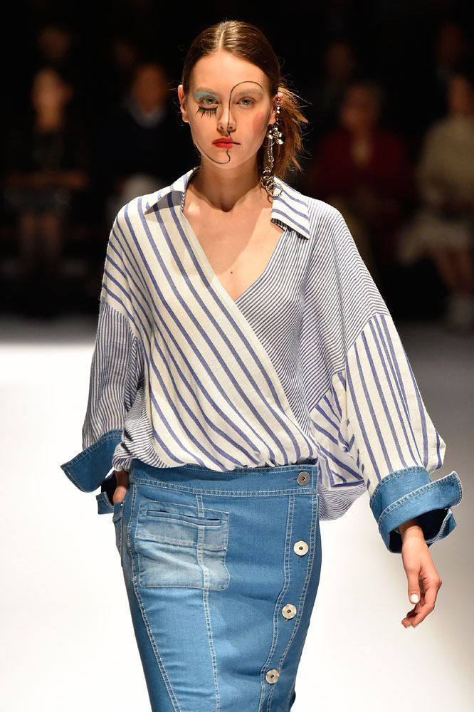 Hiroko Koshino SS-17: striped blouse, denim skirt.   I like the mixed patterns of this top, but in different colors.