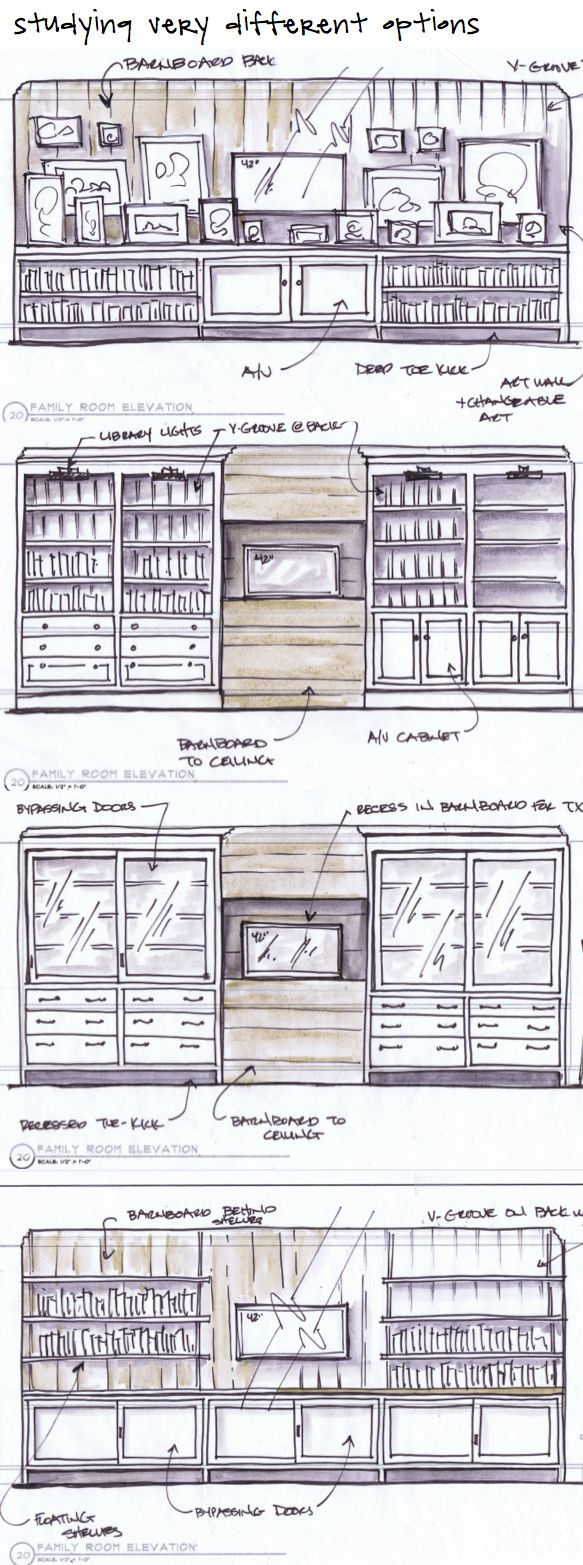 Studying some very different cabinetry options and wall treatments for a TV elevation in a client's family room Kristina Crestin Design #cabinetry, #bookcases