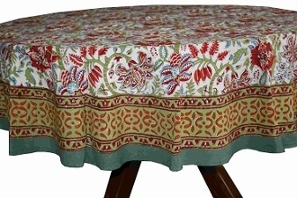 Red Floral Round Table Cloth