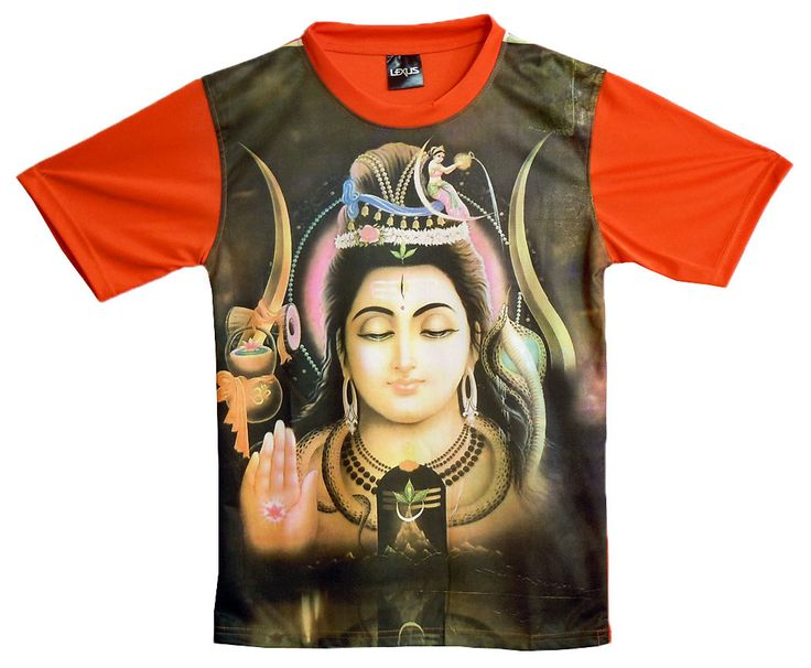 Printed Shiva on Black with Saffron T-Shirt (Synthetic)