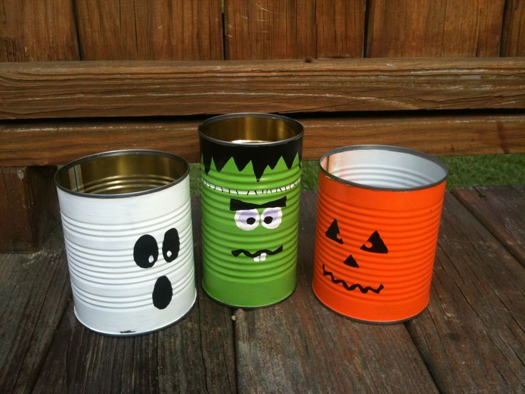 painted recycled tin cans for halloween decorations - Recycled Halloween Decorations