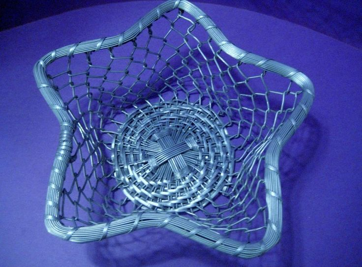Vintage Star Shaped Aluminum Chain Link Basket Made In India #Handmade