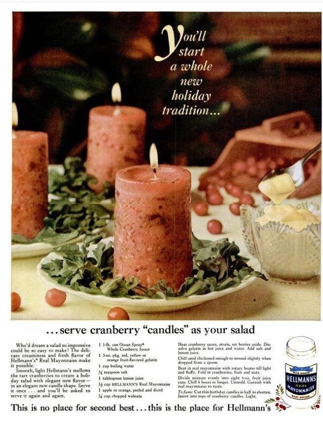 10 Terrifying Vintage Hellmanns Mayonnaise Recipes (PHOTOS) Cranberry sauce, gelatin, mayo....