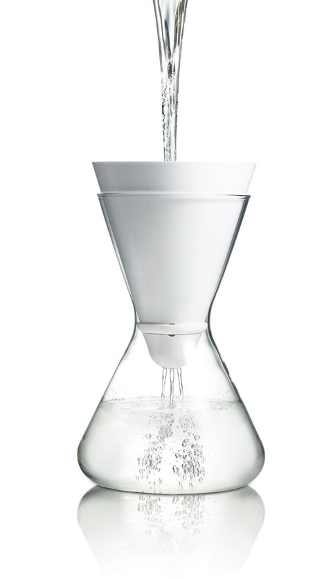 An hourglass-shaped carafe and a biodegradable filter to fit in the top
