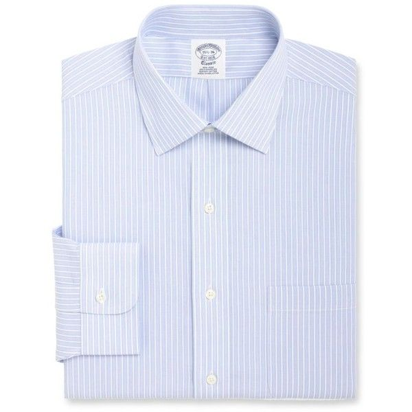 Brooks Brothers  Blue Label Slim Fit Framed Dress Shirt ($92) ❤ liked on Polyvore featuring men's fashion, men's clothing, men's shirts, men's dress shirts, blue, mens blue dress shirt, mens slim fit dress shirts, mens dress shirts, brooks brothers men's dress shirts and mens slim fit shirts