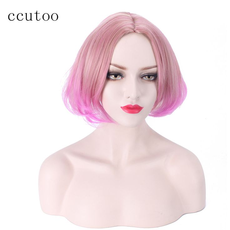 "==> [Free Shipping] Buy Best ccutoo 14"" Pink Ombre Blonde Short Curly Pear Bobo Hairstyles Synthetic Cosplay Full Wigs Heat Resistance Fiber Central Parting Online with LOWEST Price 