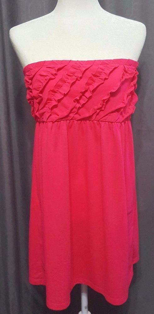 OP Size XL-15/17  Pink Ruffled style top Strapless Sundress summer elastic light #OP #EmpireWaistSundress #Any
