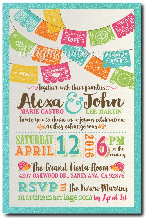 Mexican Fiesta Paper Flags Wedding Invitations. Papel Picado flags wedding invitations. Professionally printed fiesta wedding invites. Fiesta wedding theme. Mexican fiesta style wedding ideas. Vintage Mexican rose wedding invitations.