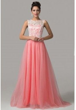 luxusní lososové plesové šaty tylové Penelopé XS-S