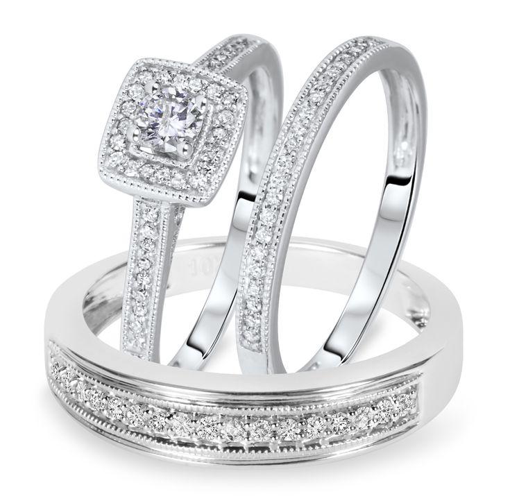 1 2 Carat T W Round Cut Diamond Matching Trio Wedding Ring Set 10k White Gold
