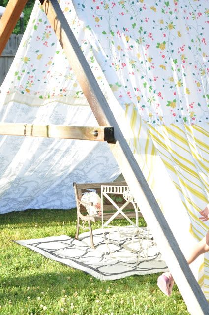 A homemade swing set tent from vintage sheets summer for Homemade forts outdoors