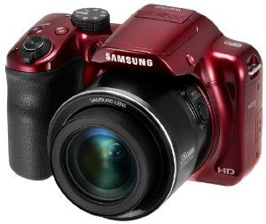 "Samsung WB1100F 16.2MP CCD Smart WiFi & NFC Digital Camera with 35x Optical Zoom, 3.0"" LCD and 720p HD Video (Red). Also available in black."