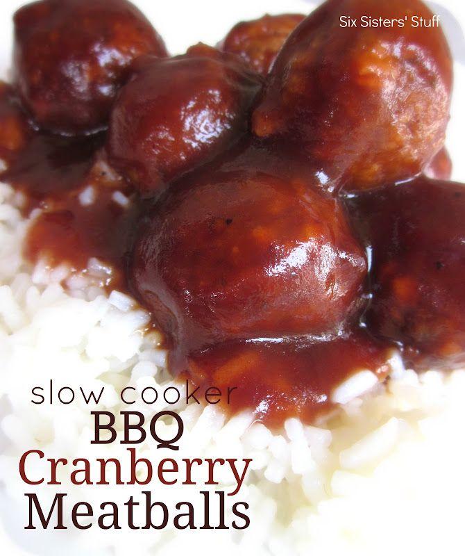 Slow Cooker BBQ Cranberry Meatballs #sixsistersstuff #BBQcranberrymeatballs