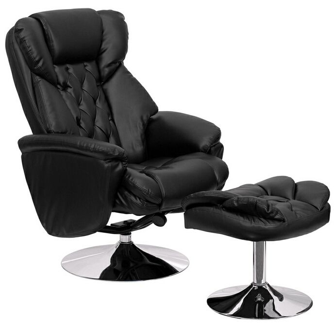 Transitional Black Leather Recliner and Ottoman with Chrome Base. The durable leather upholstery allows for  sc 1 st  Pinterest & 12 best Kids Rocker Recliners images on Pinterest | Recliners ... islam-shia.org