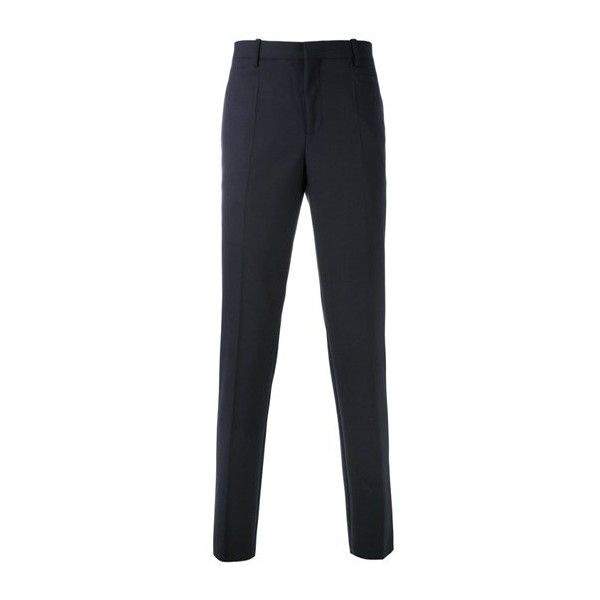 NEIL BARRETT Slim-Fit Trousers ($449) ❤ liked on Polyvore featuring men's fashion, men's clothing, men's pants, men's dress pants, blue, mens blue dress pants, mens slim dress pants, mens slim fit dress pants, mens elastic waist pants and mens elastic waist dress pants