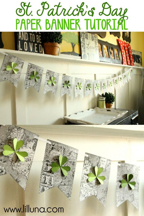 Cute and Easy St. Patrick's Day Paper Banner Tutorial on { lilluna.com }