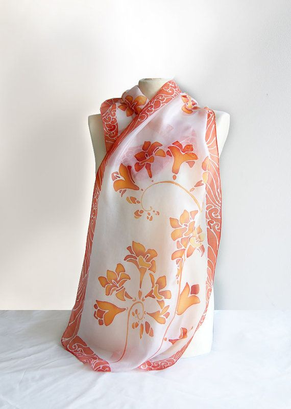 Silk scarf Fresia  scarf handpainted  silk scarves  by MinkuLUL