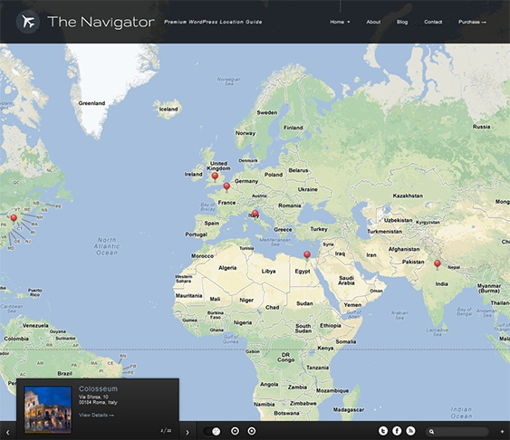 This WordPress travel theme offers advanced Google Maps integration, a slideout widget panel, collapsible and draggable windows, lots of jQuery effects and animations, Google Fonts support, fullscreen image backgrounds, and more.