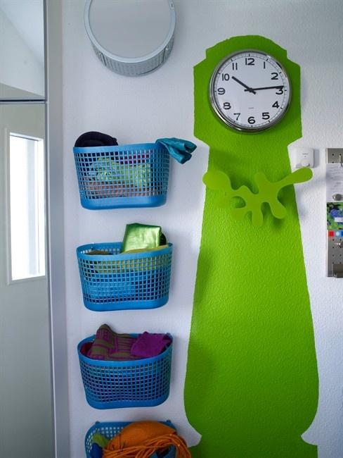 Beach bags as storage and painted clock/coat rack   ikea Danmark