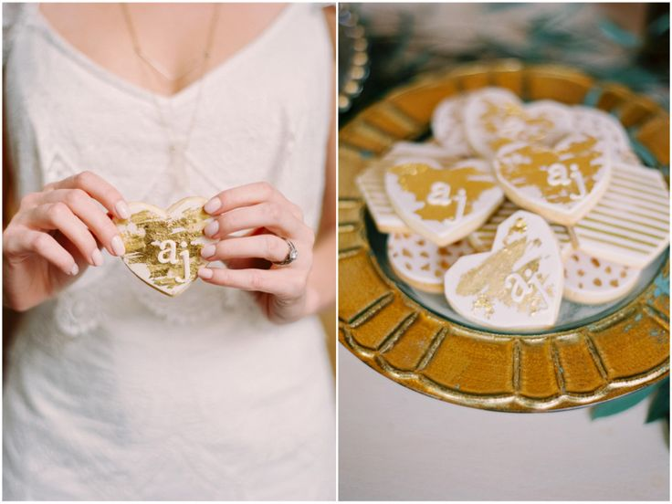 Gold painted hexagon and heart shaped sugar cookies are the perfect addition to…
