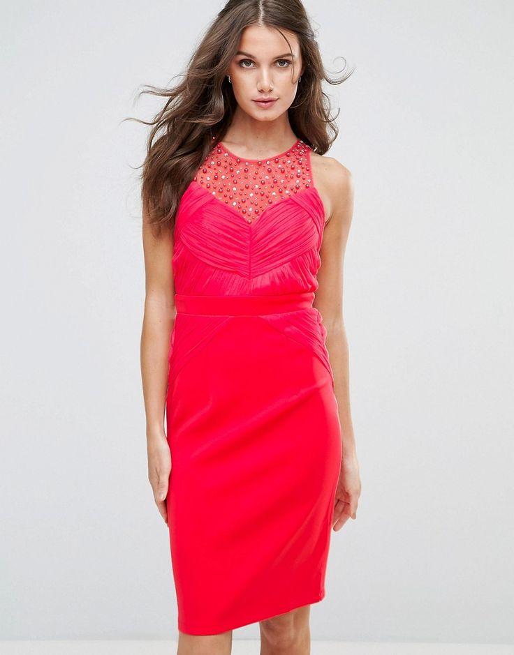 Little Mistress Embellished Pleat Bodycon Midi Dress - Pink