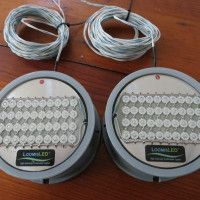 Blue LED flush mounting boat transom lights (18 LED's). These marine LED lights are durable, corrosion proof, extremely bright, compact and very efficient.