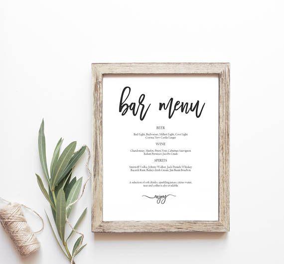 Viac ako 25 najlepších nápadov na Pintereste na tému Wedding bar - bar menu template