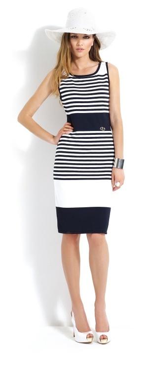 Vestido a rallas #azules y #blancas de tirantes y largo por las rodillas #dress #stripes #blue #white