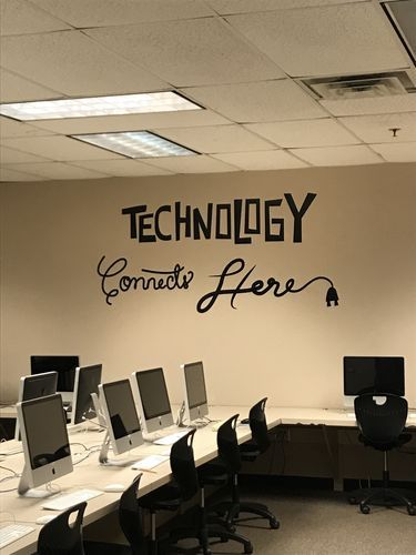 vinyl wall decal sticker technology connects here #os_dc576 in 2019