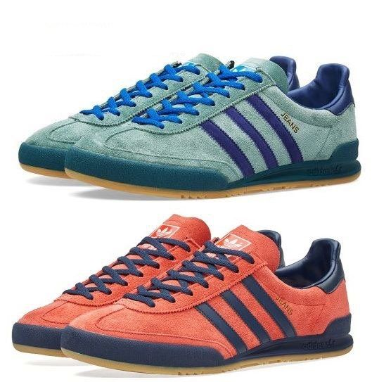 A FINE PAIR OF JEANS TRAINERS, THE TOP PAIR FINISHED IN MINT GREEN/NAVY