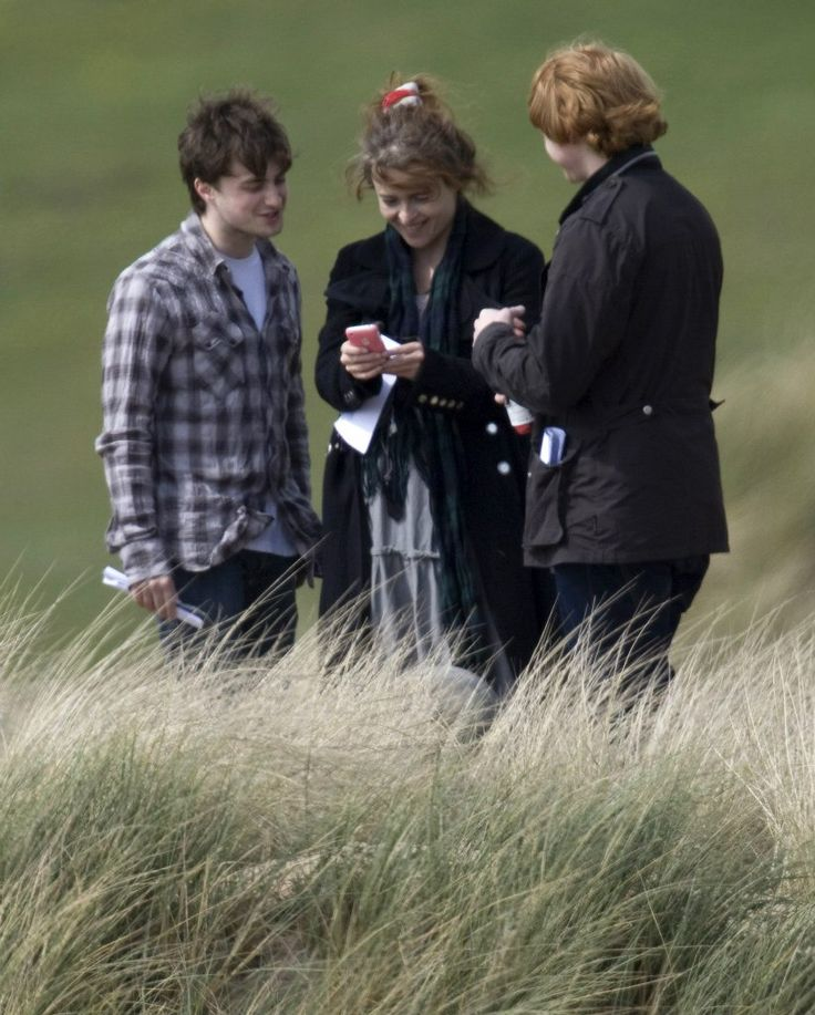 Daniel Radcliffe, Helena Bonham Carter and Rupert Grint on the set of 'Harry Potter and the Deathly Hallows: Part 2'