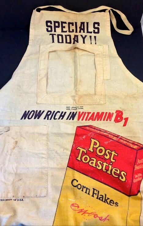 1920s Post Toasties General Grocery Store Advertising Work Apron