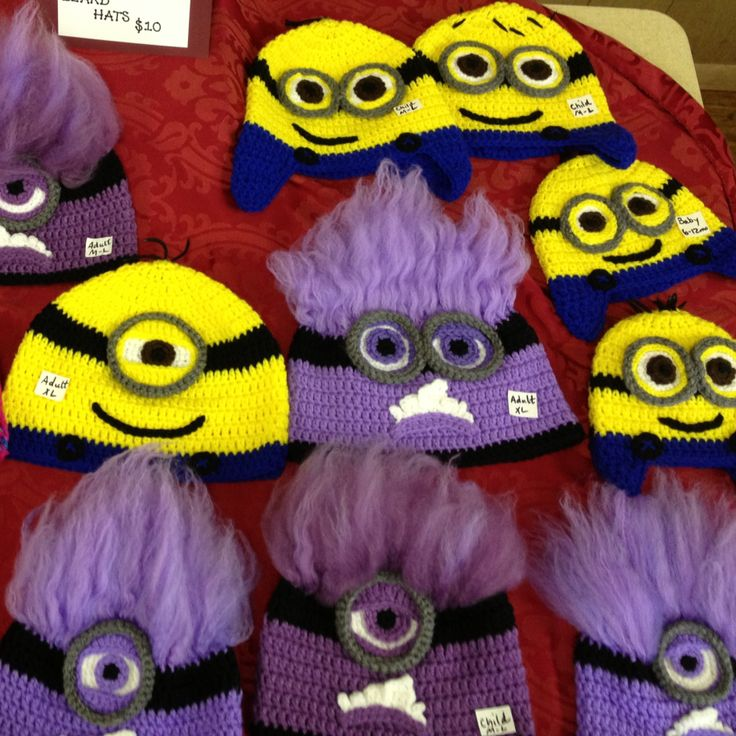 My crocheted Minion Hats. :) Yellow: $20 Purple: $30 ...